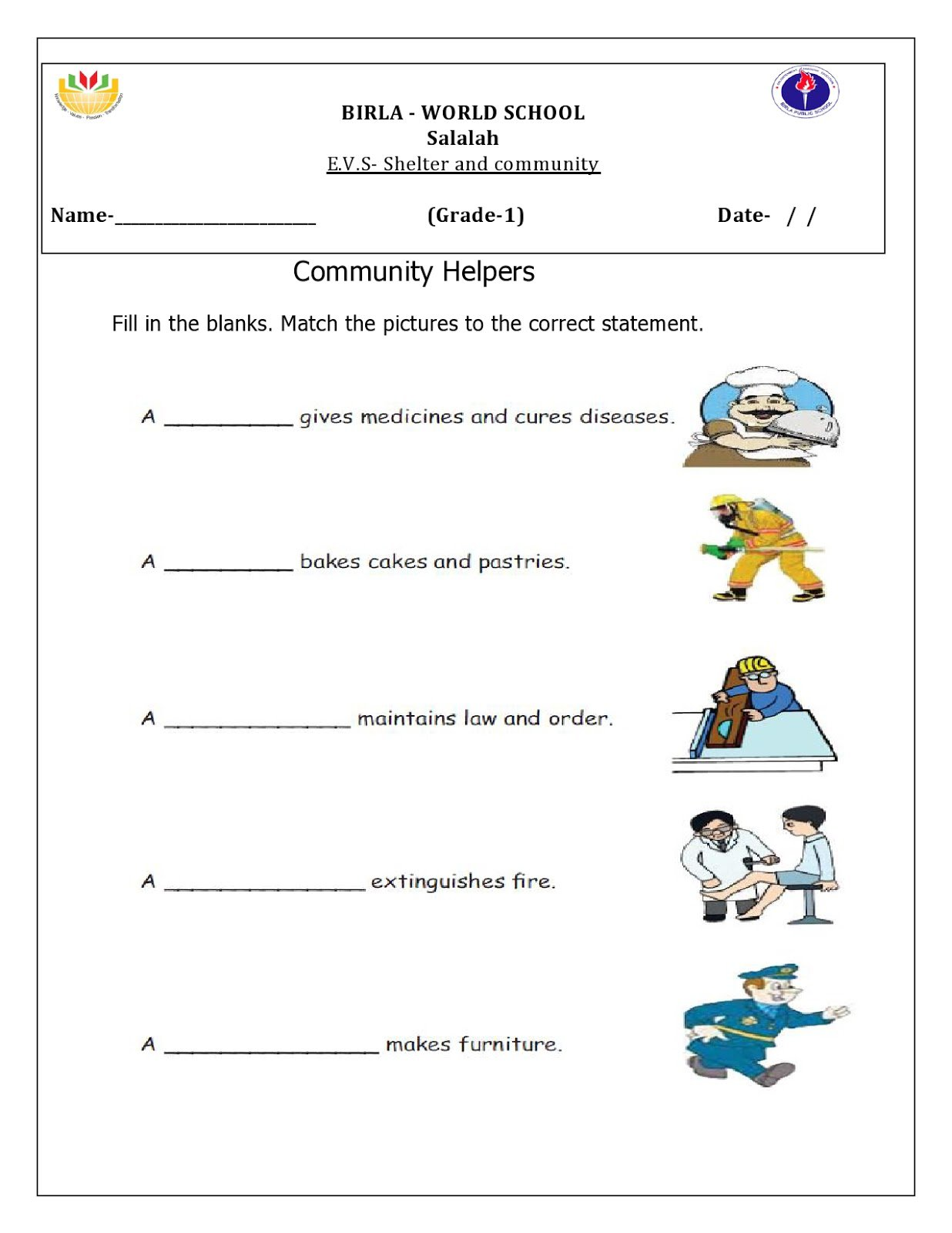 Evs Worksheets For Class 2