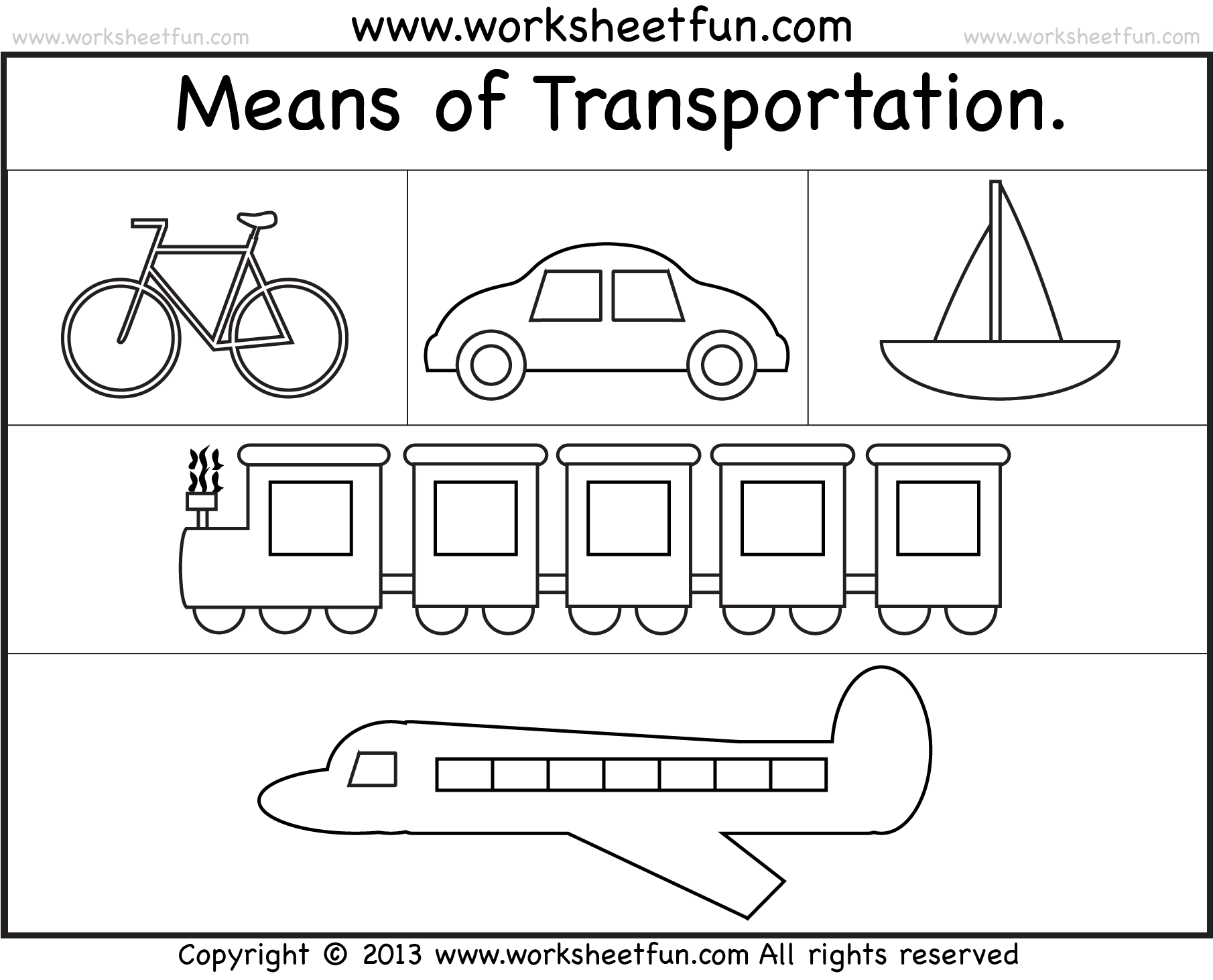 Free Printable Transportation Worksheets For Kindergarten