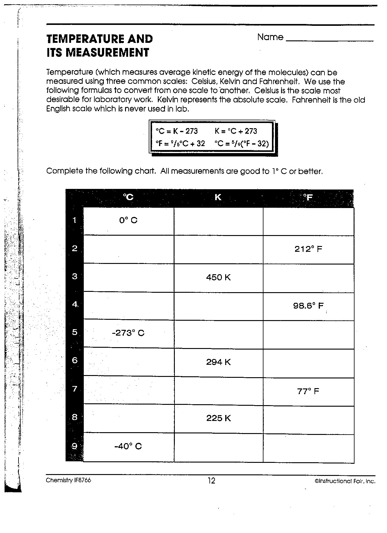 Temperature And Its Measurement Worksheets