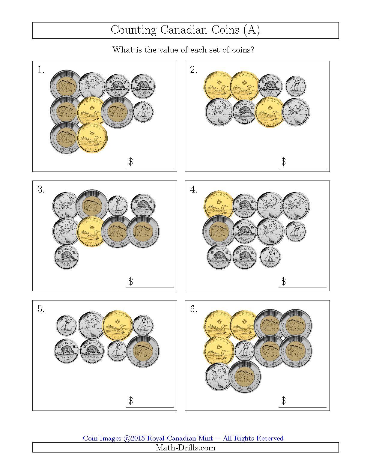 Kindergarten Canadian Money Worksheets Printable