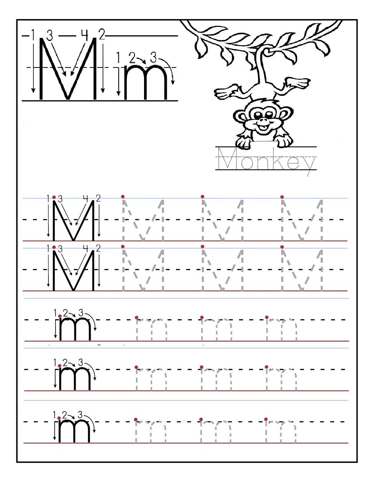 M Worksheets For Kindergarten