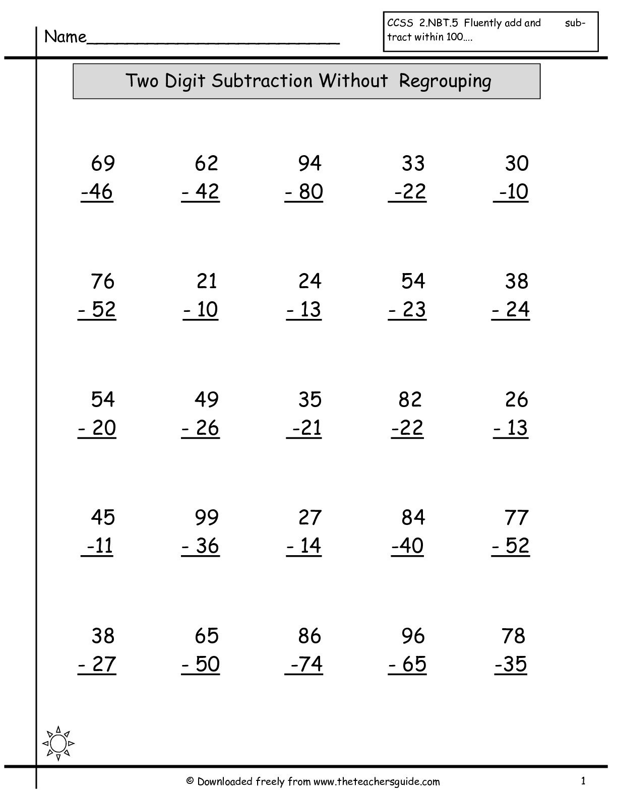 Two Digit Addition And Subtraction Worksheets Without