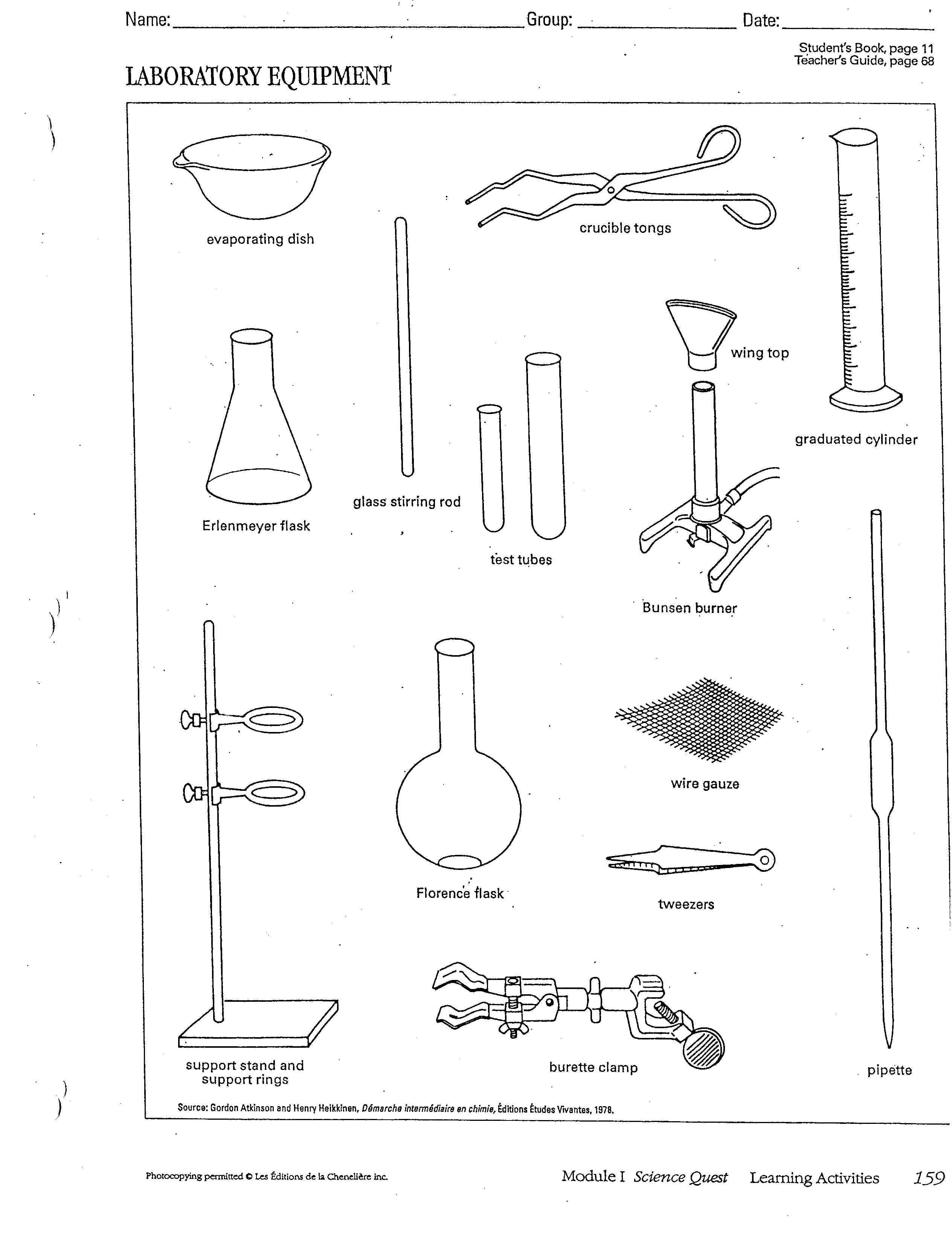Chemistry Lab Equipment Worksheets