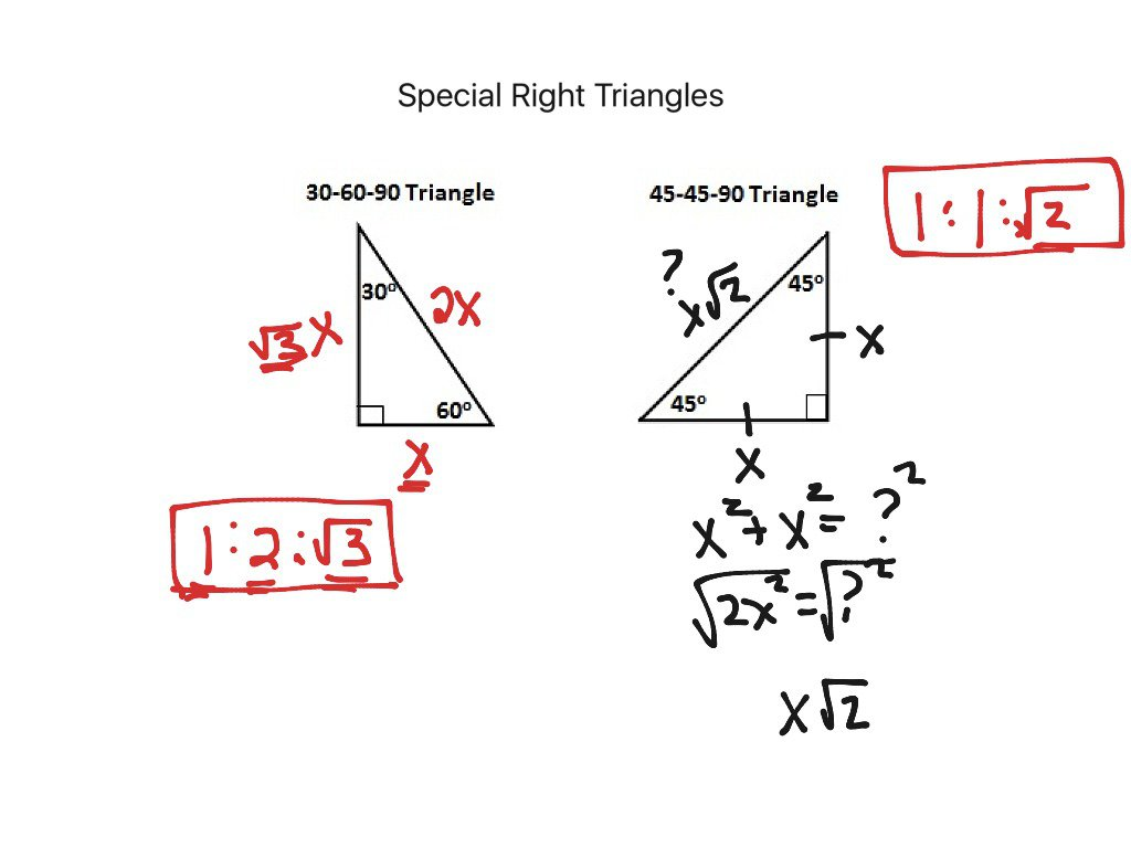 Solving Special Right Triangles Worksheets