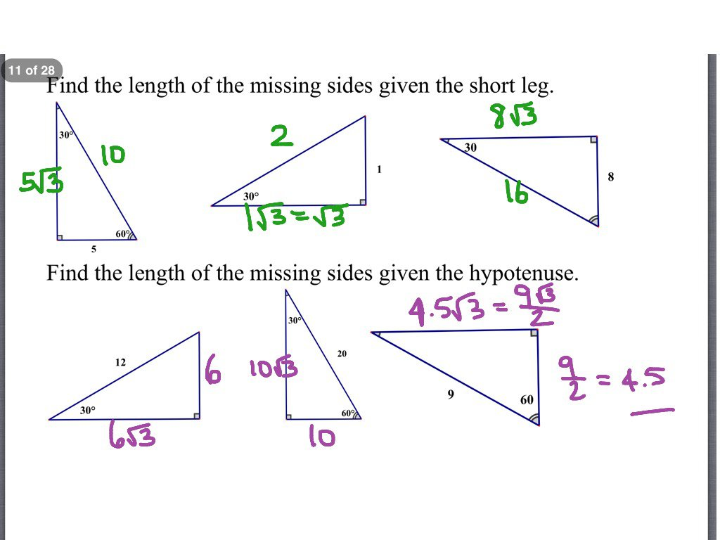 Special Triangles Worksheet Creative Representation 7 4 D
