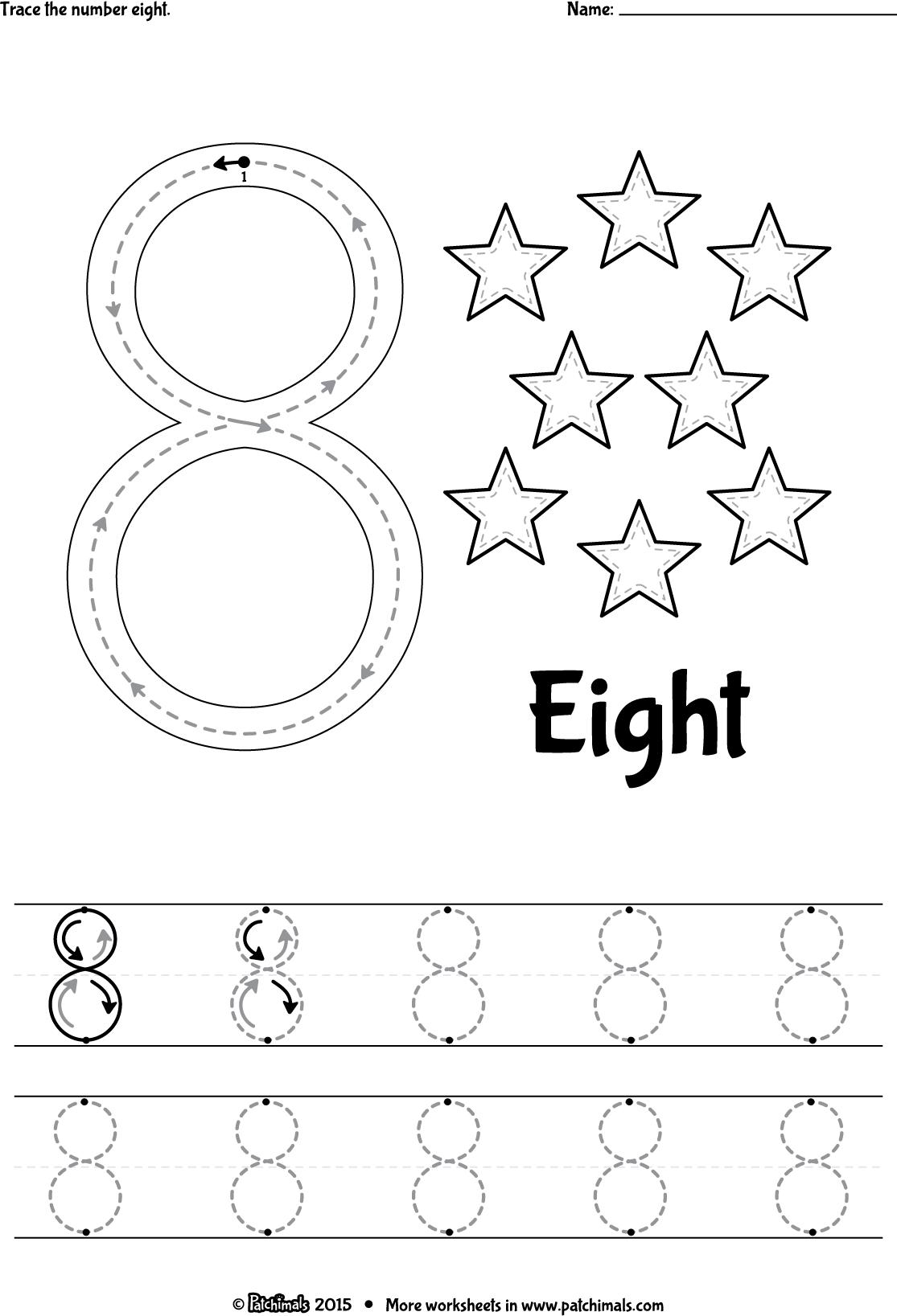 Tracing Number 8 Worksheets