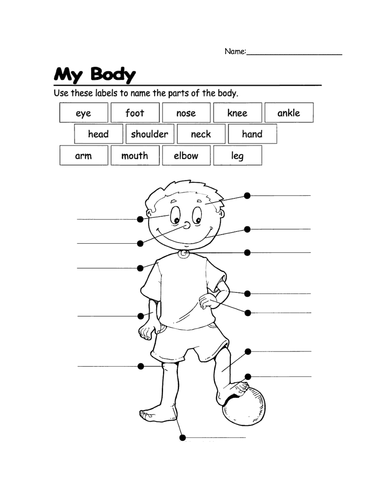 Label The Body Parts Worksheets