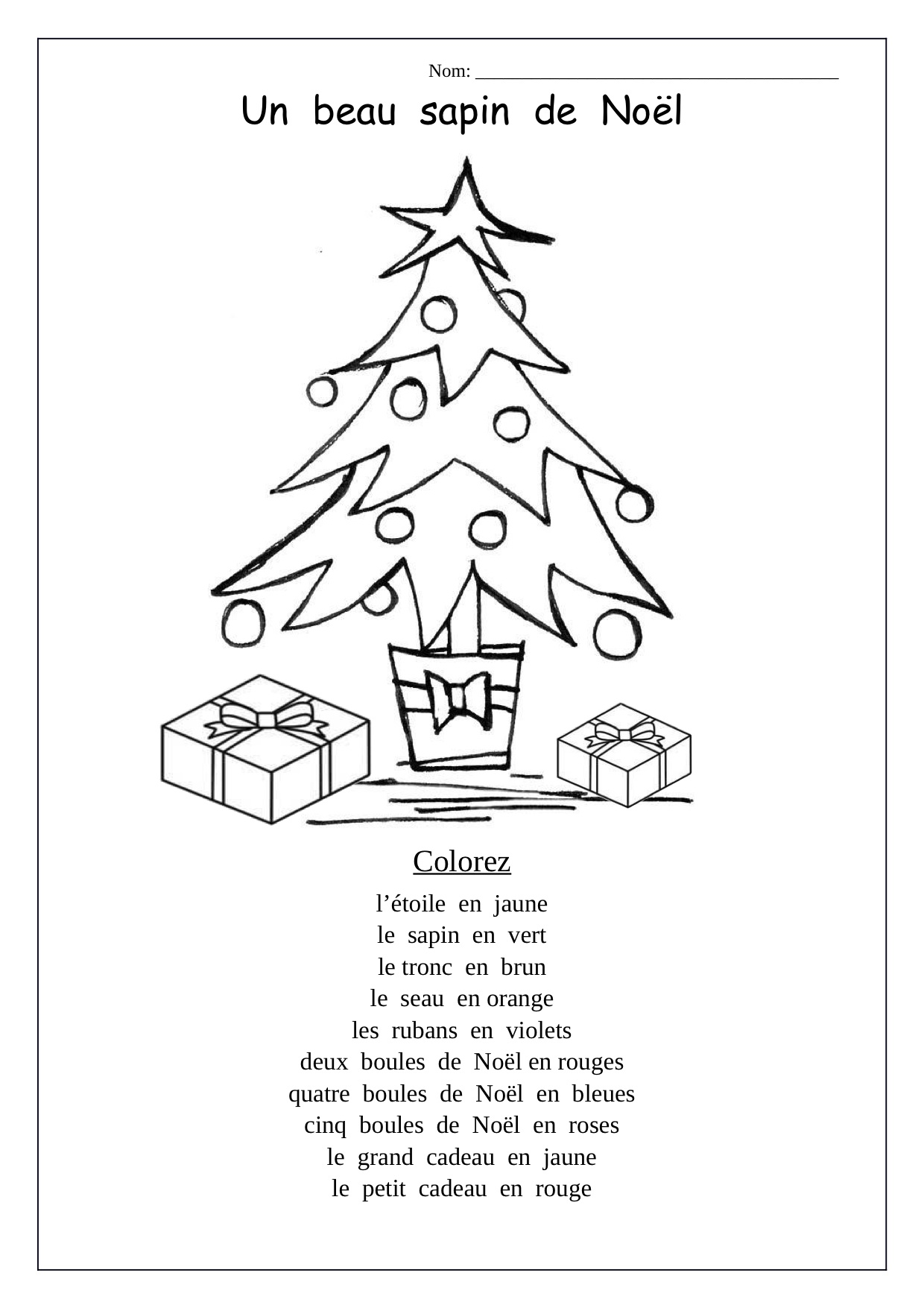 Christmas Worksheet In French Free Worksheets Samples