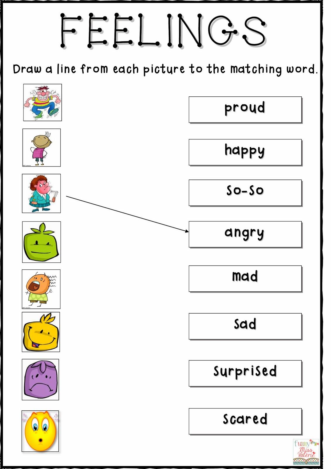 Free Emotions Worksheets For Kindergarten Free
