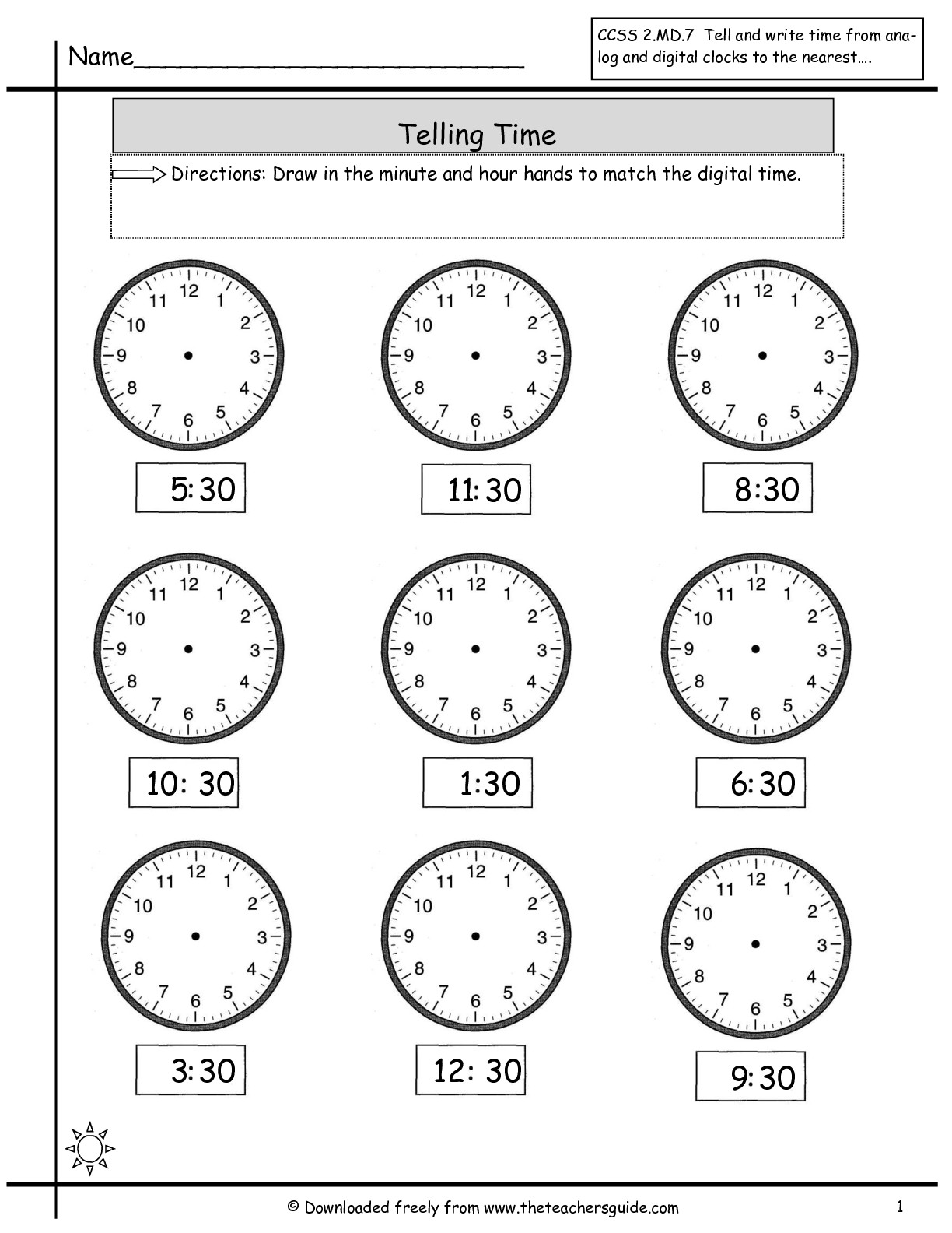 Free Math Worksheets Time To The Half Hour Free Worksheets Samples
