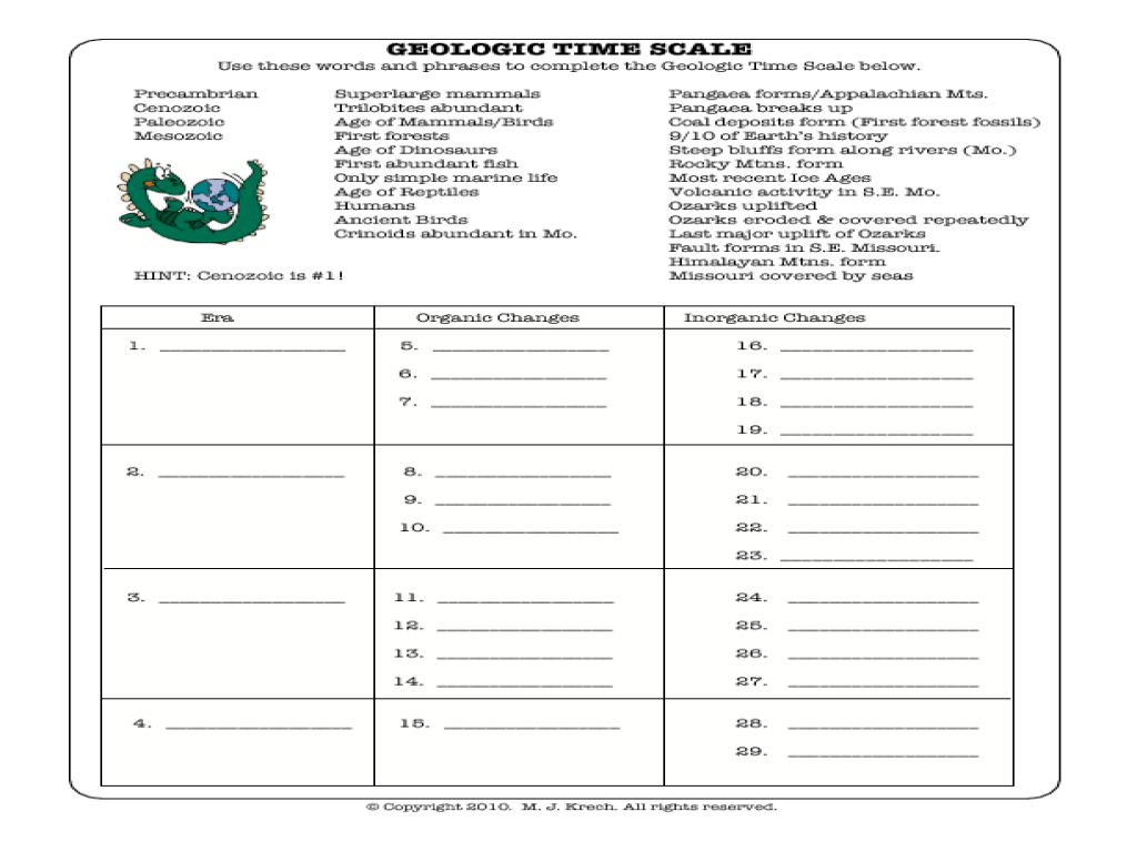 Geologic Time Scale Worksheets Middle School
