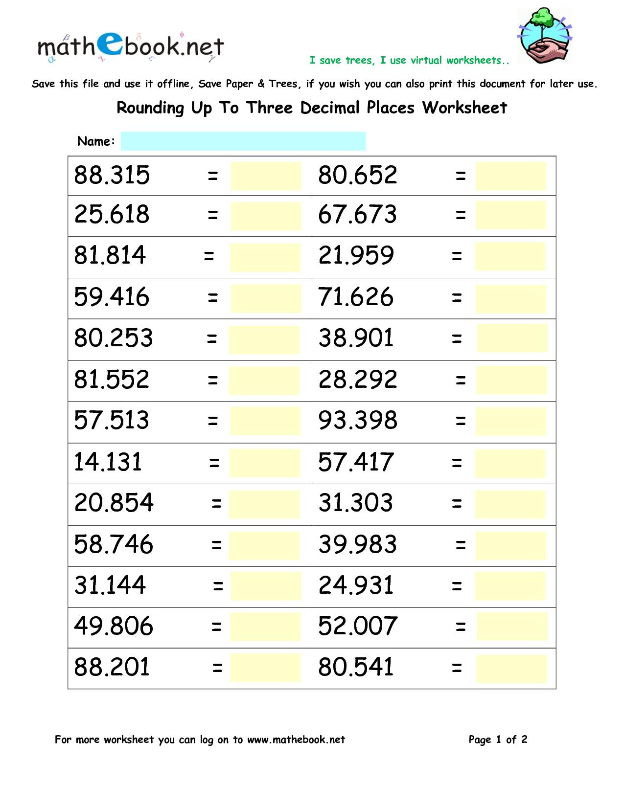 Math Worksheets Rounding Decimals