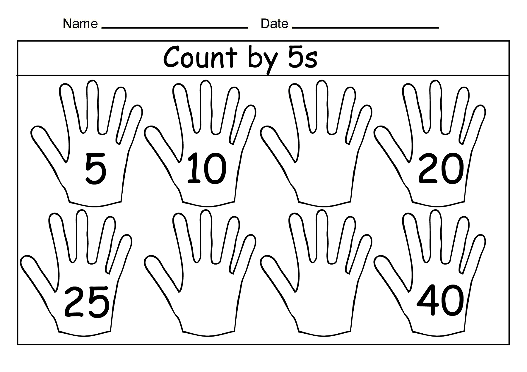 Count In 5s Worksheets