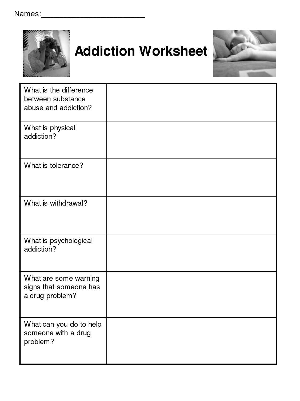 Worksheets For Substance Abuse