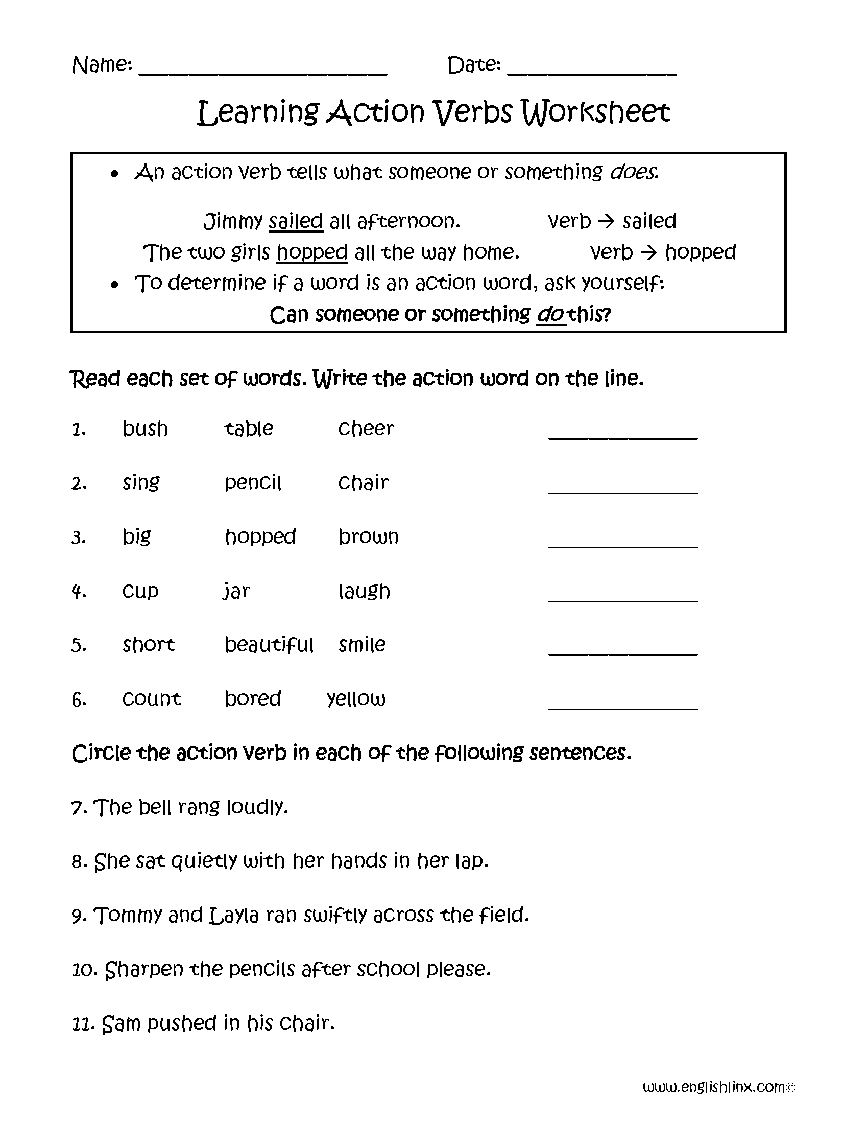 Action Verb Worksheets Middle School