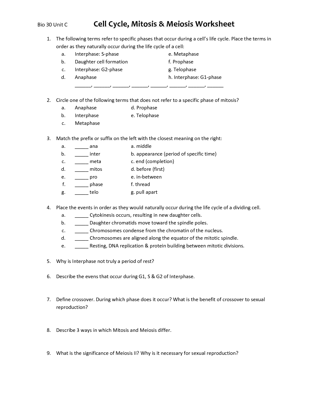Cell Division Worksheet Matching