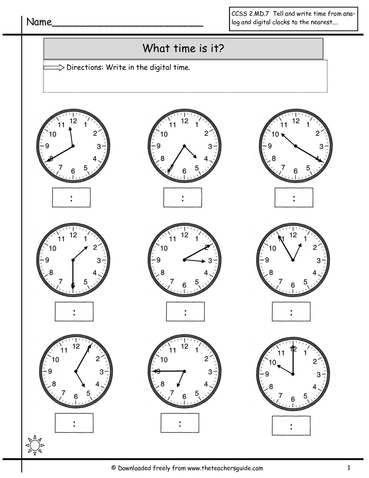 Math Worksheet Time To The Nearest Minute Free