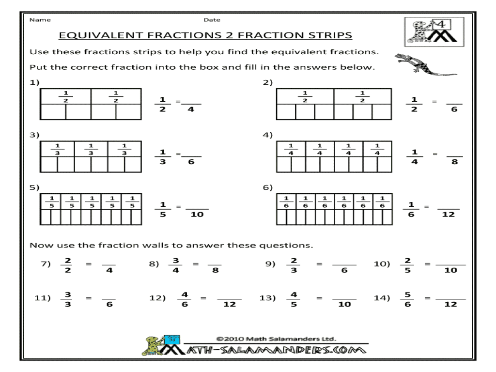 Equivalent Fraction Strips Worksheets