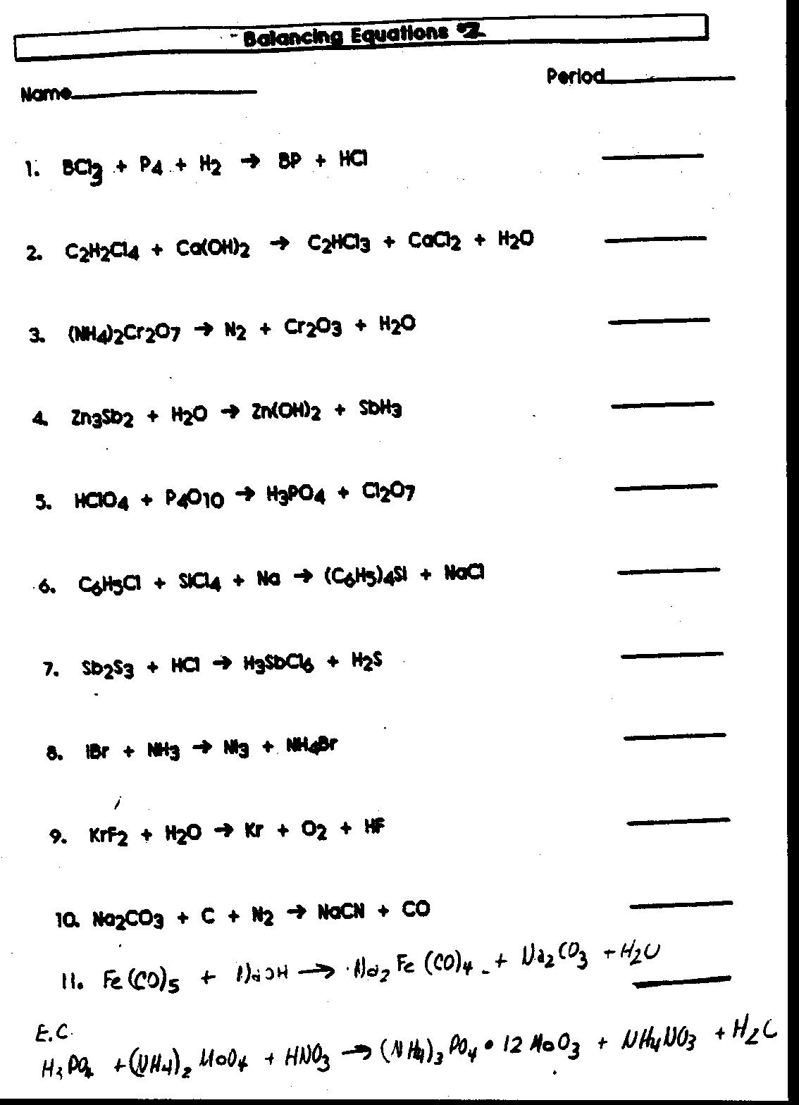 Word Equation Worksheet Chemistry Pichaglobal Writing
