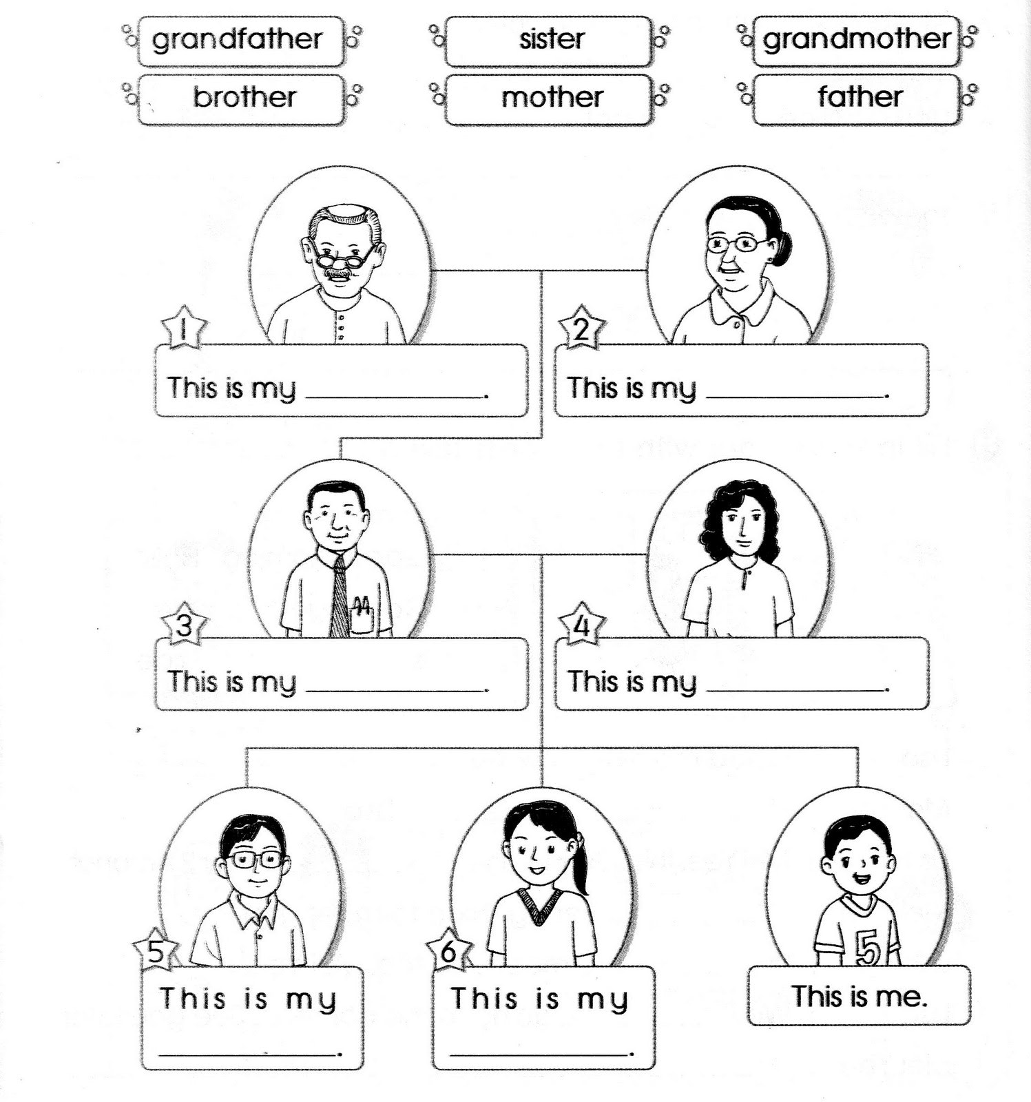 My Family Worksheets For Children