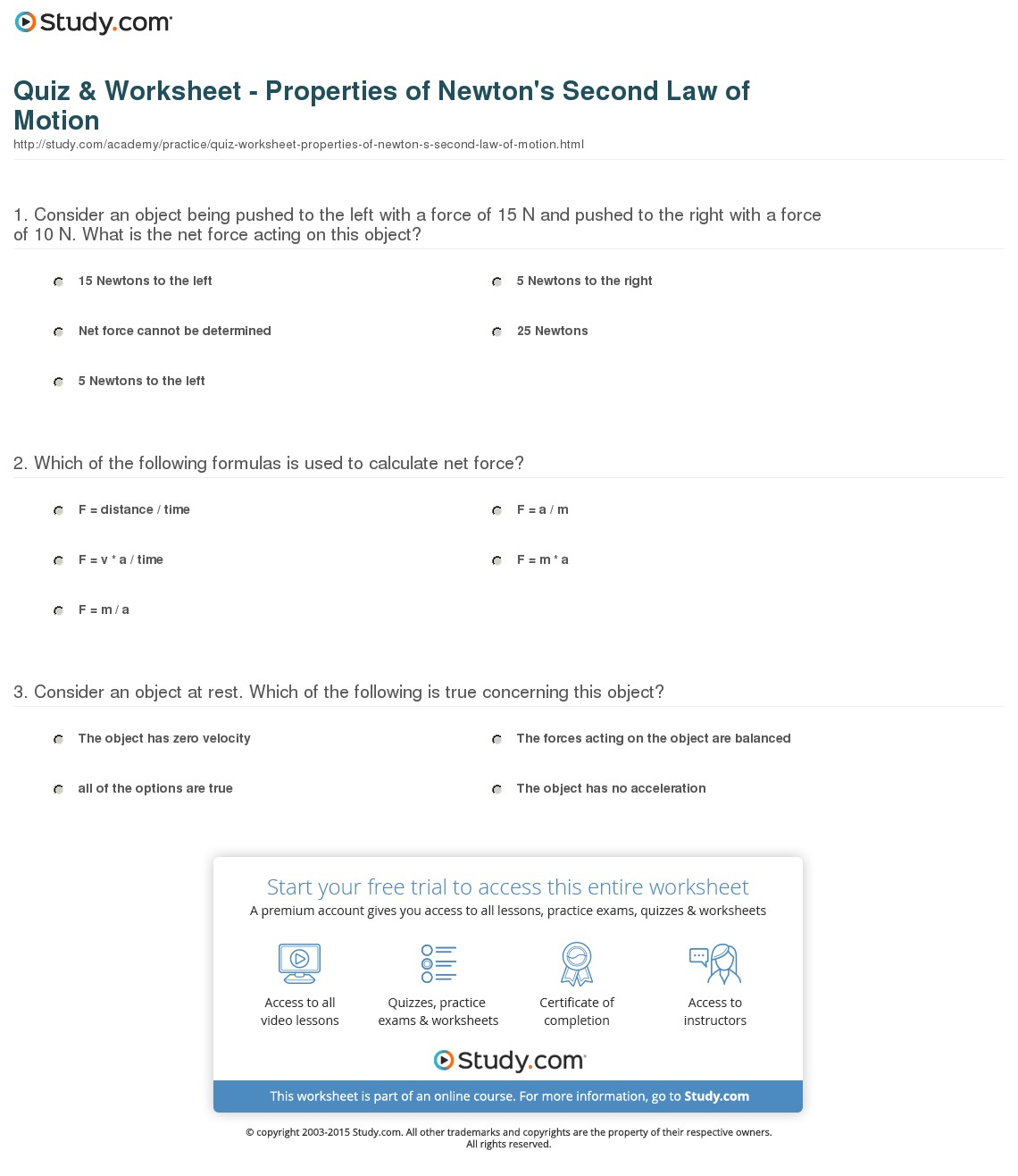 Newton S Second Law Worksheets Answers