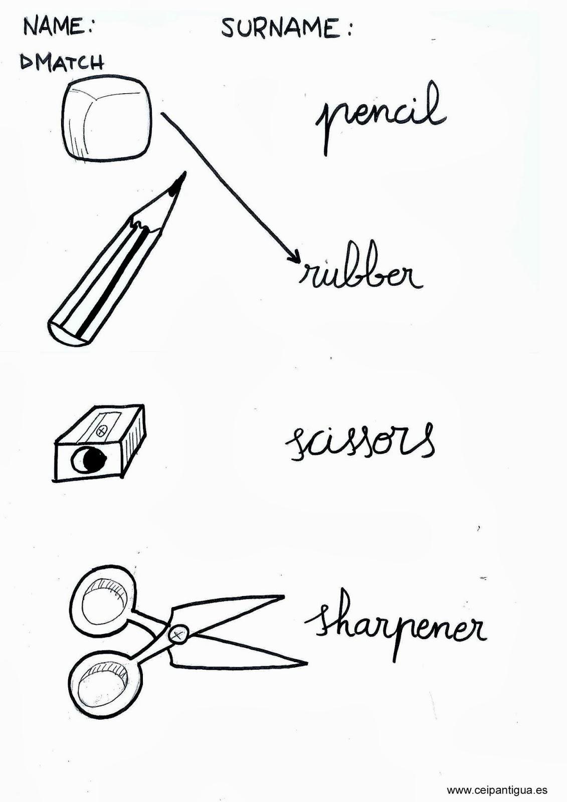 School Materials Worksheets