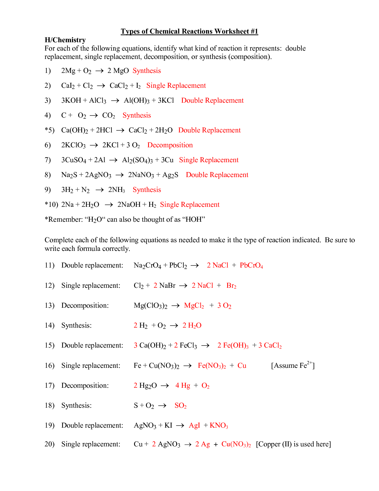 Chemistry Worksheet Types Of Reactions