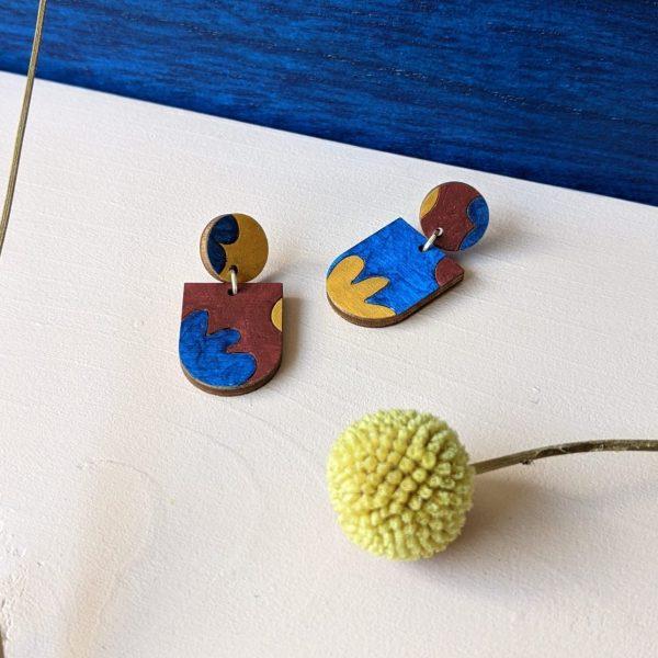 Handgemaakte houten oorbellen