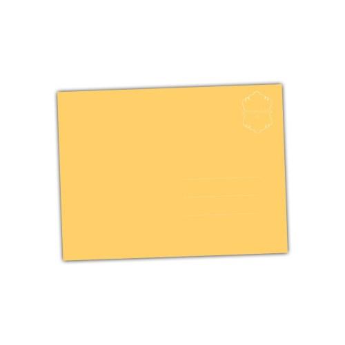 achterkant van de ansichtkaart vrolijk geel