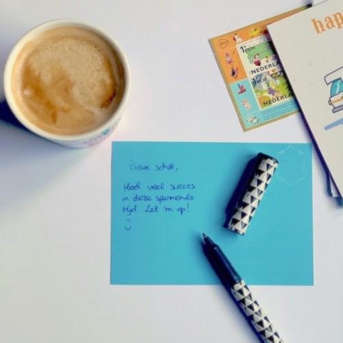 schrijf een kaartje aan wie denk jij vandaag