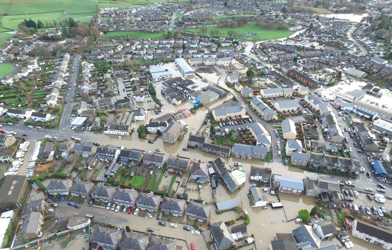 Kendal floods, Storm Desmond December 2016, aerial photo photograph my drone hovershotz