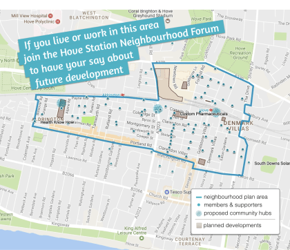 map of members within hove station neighbourhood plan designated area