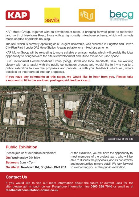Public consultation on redevelopment of Peugeot dealership site, Newtown Road