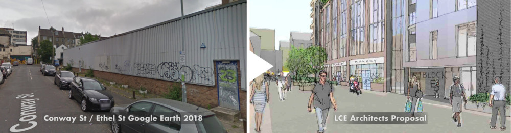 before-after comparisons - Conway street pedestrianised