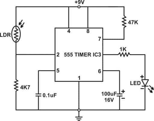 DarkLight Detector using 555 Timer & LDR - Electronics Mini Project