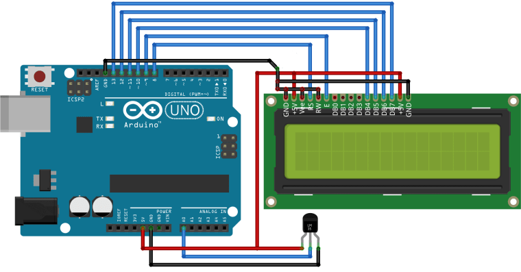 Digital Thermometer Using Arduino & LM35 Temperature Sensor