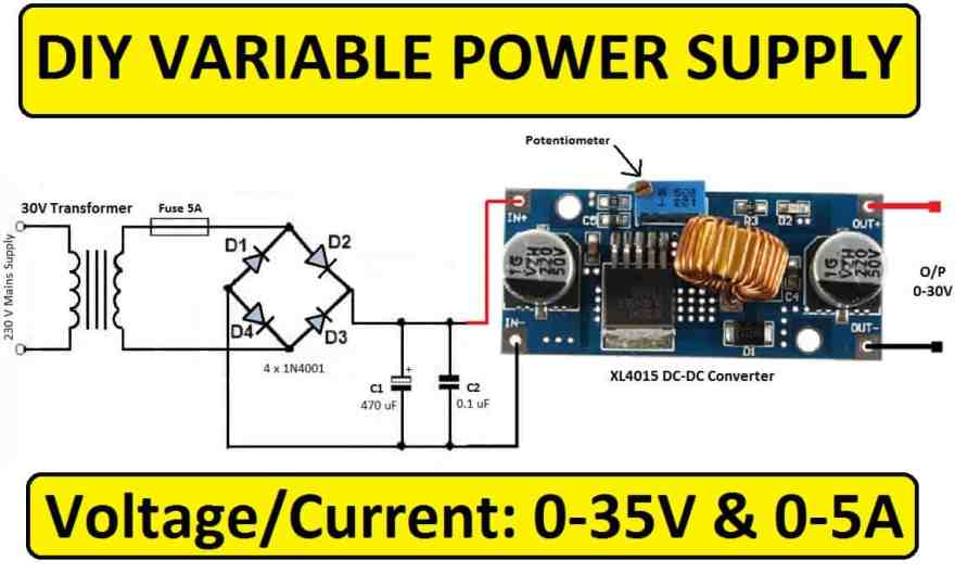 0-35V Variable Power Supply Using XL4015 DC-DC Converter