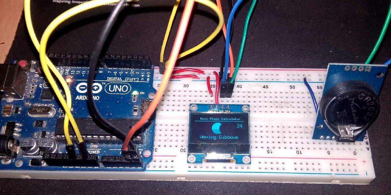 Moon Phase Calculator With OLED Display Using Arduino