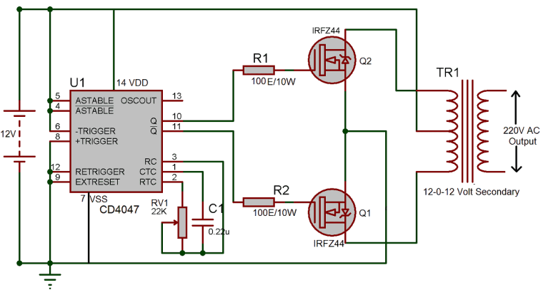 12v Dc To 220v Ac Inverter Circuit