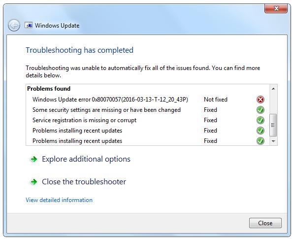 fix error 0x80070057