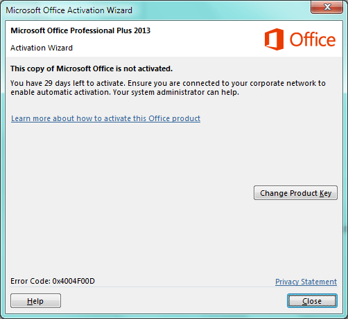 this copy of microsoft office is not activated professional plus 2019