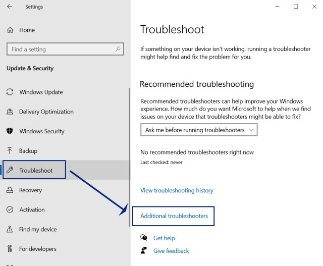additional troubleshooter