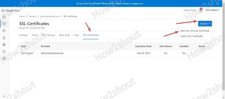 SSL Certificate on ClouPanel Debian 10