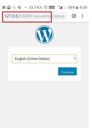 setup wordpress Android web serevr