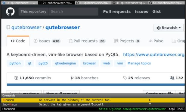 qutebrowser command based lightweight browser for linux