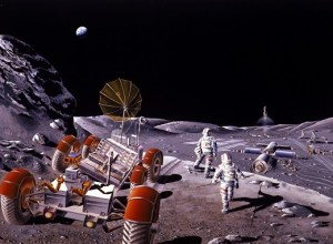 1986 artist concept of a lunar colony