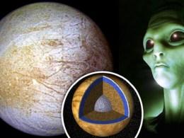 Green UFO Flying Over Jupiter