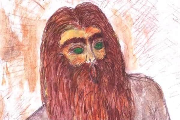 Иллюстрация Чужого с зелеными глазами и длинными рыжими волосами согласно описанию Да Силвы.