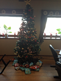 Christmas Gifts Around the Christmas Tree on a vessel