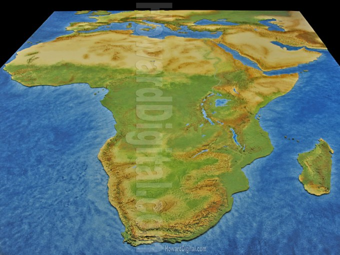 Physical Map of Africa   Landform Models   African Model   Howard Models Physical Map of Africa   African Model   Africa